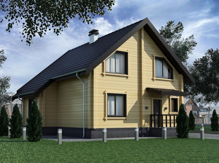 """Двухэтажный дом с мансардой из профилированного бруса """"Парус"""""""