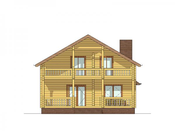"""Двухэтажный дом с мансардой из профилированного бруса """"Одиссей"""""""