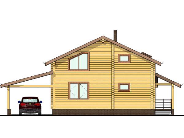 """Двухэтажный дом с мансардой из профилированного бруса """"Афины"""""""