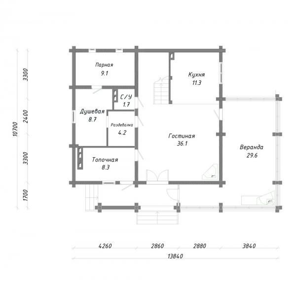 """Двухэтажный дом с мансардой из профилированного бруса """"Новый"""""""