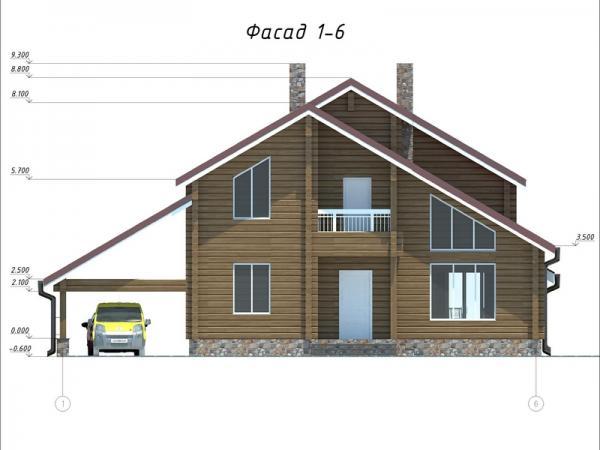 """Двухэтажный дом с мансардой из профилированного бруса """"Чайка"""""""