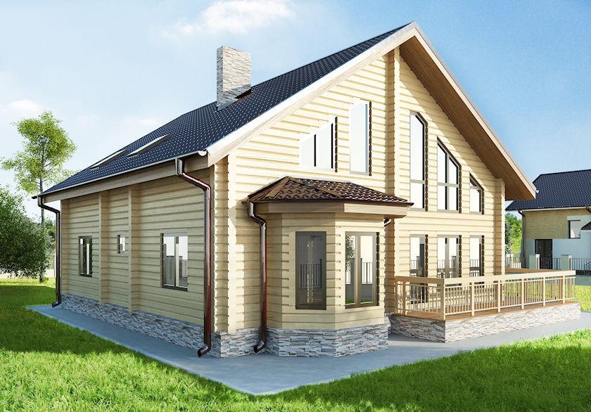 """Двухэтажный дом с мансардой из профилированного бруса """"Тор"""""""