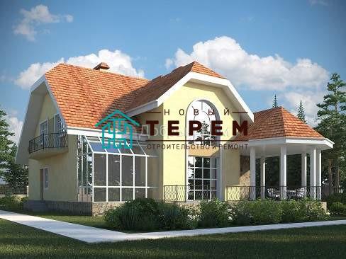 Проект дома 15,8×14,9 м. с мансардной крышей