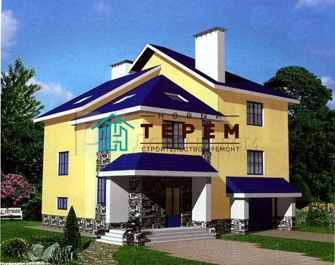 Проект дома 12,32×12,32 м. с четырехскатной крышей