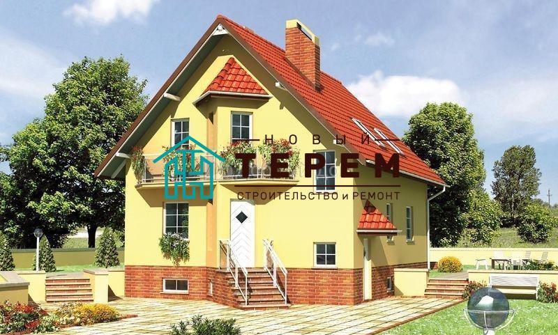 Проект дома 12,4×9 м. с двускатной крышей
