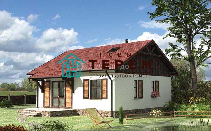 Проект дома 9,1×8,8 м. с двускатной крышей