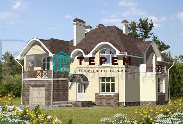 Дом 15,5×13,3 м. с мансардной крышей