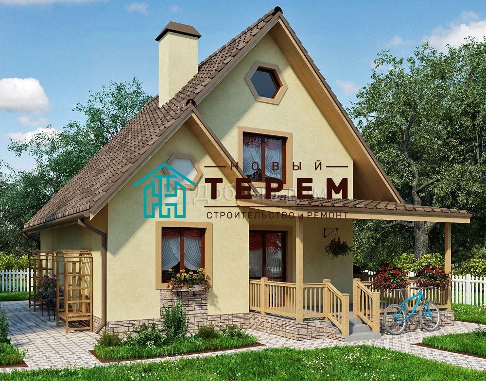 Проект дома 8,8×7 м. с двускатной крышей