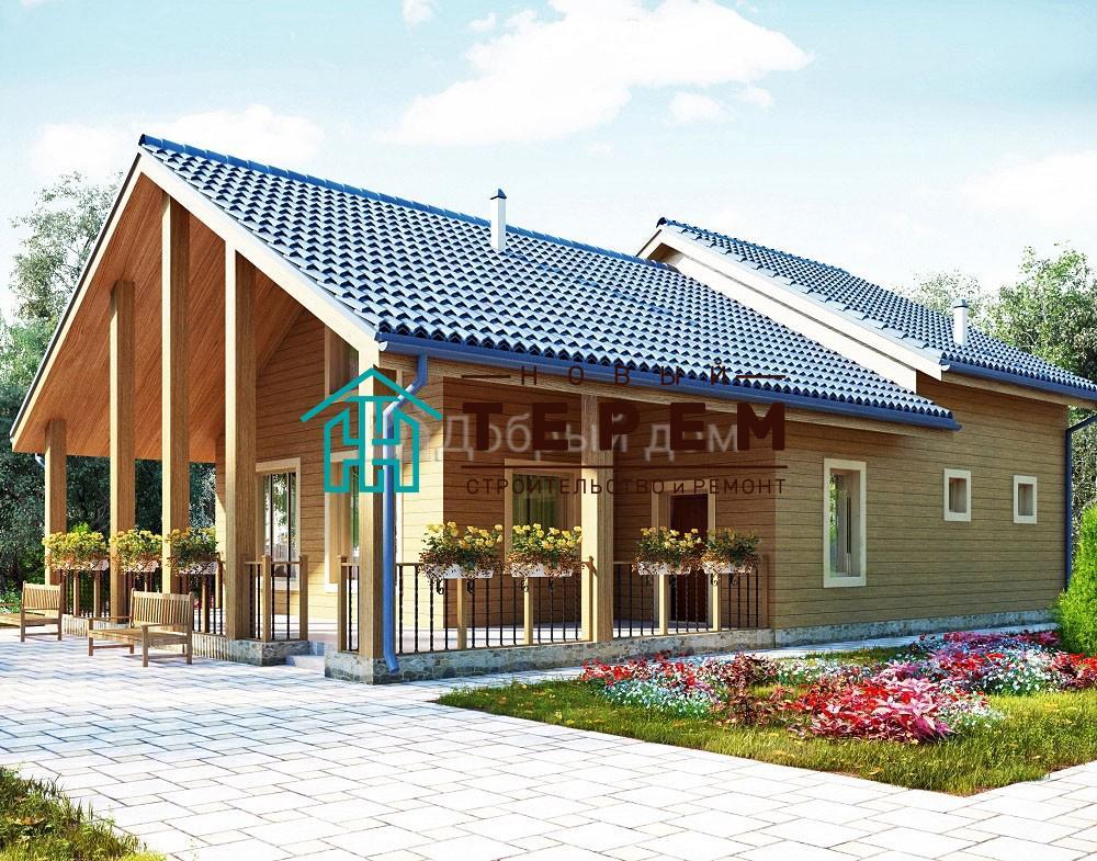 Дом 14,8×9,8 м. с двускатной крышей