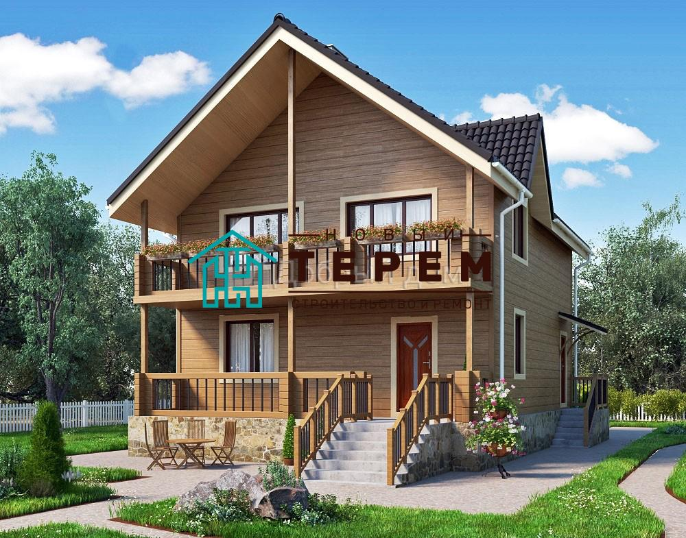 Проект дома 11.6 м х 8.4 м с двускатной крышей