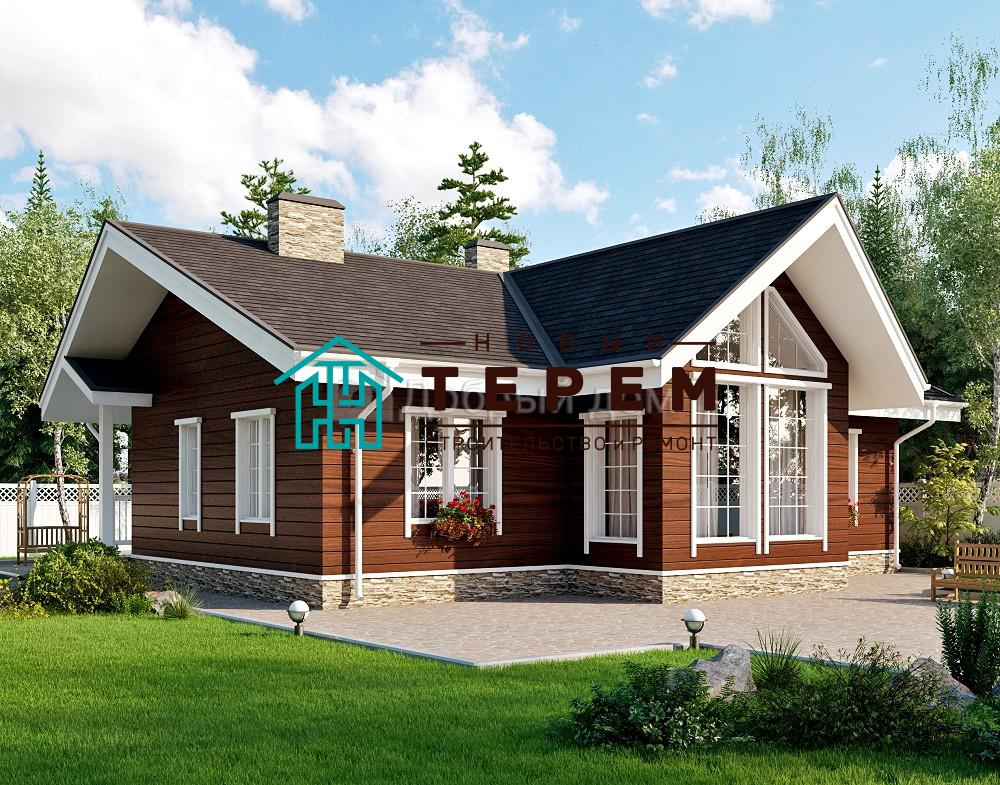Дом 12,2×10,2 м. с двускатной крышей