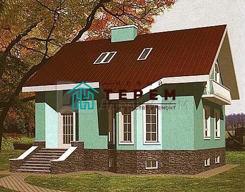 Проект дома 10,68×10,38 м. с двускатной крышей
