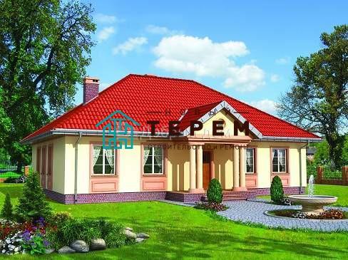 Проект дома 14,9×10,4 м. с четырехскатной крышей