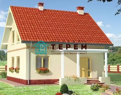 Проект дома 8,9×8,9 м. с двускатной крышей