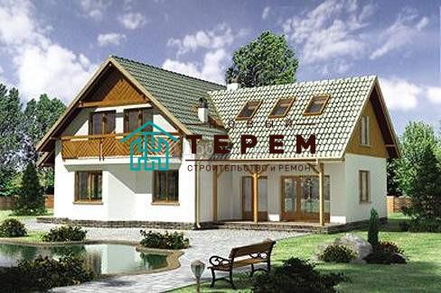 Проект дома 14,4×12,3 м. с мансардной крышей