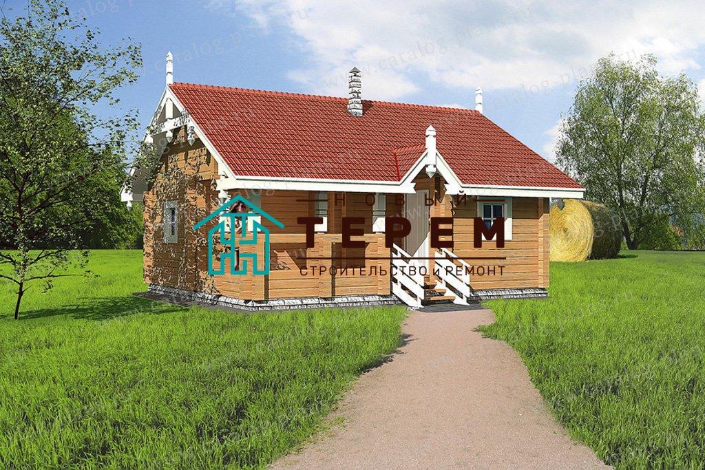 Деревянная баня с террасой 8.4×7.2м