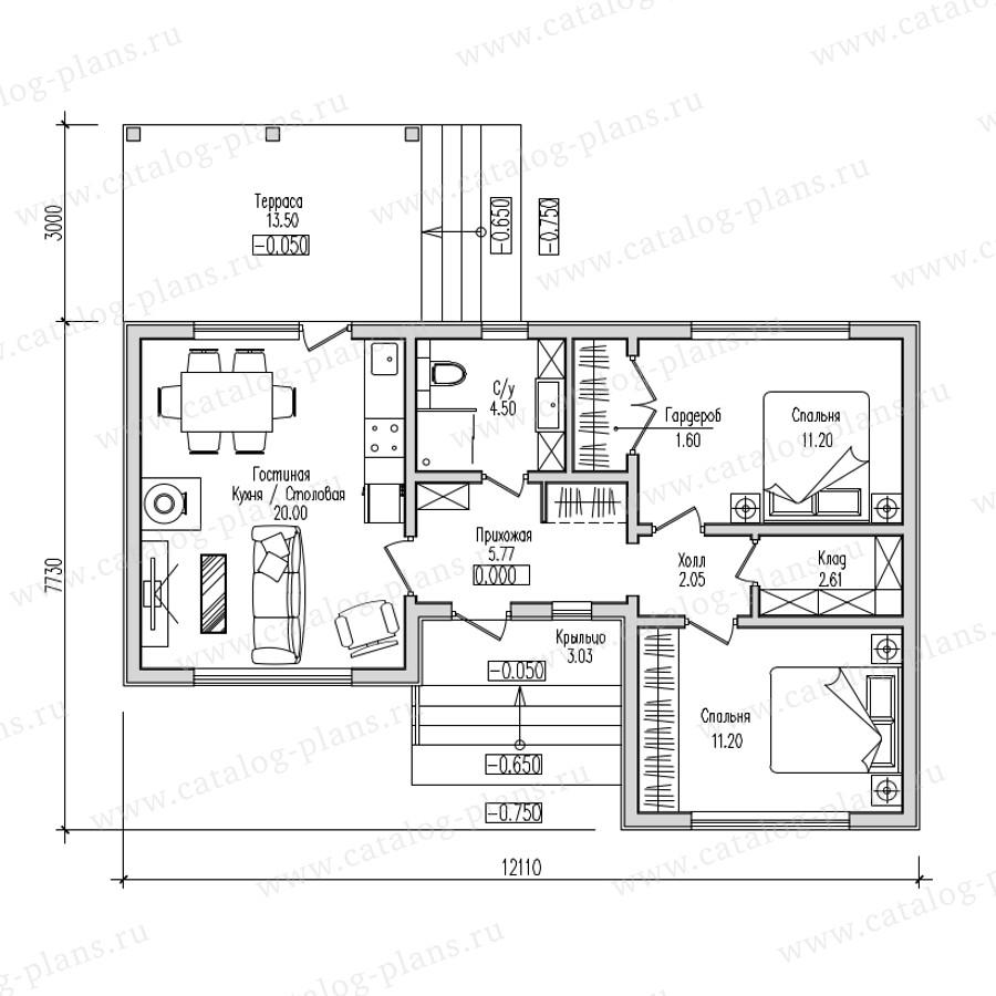 Проект одноэтажного каркасного дома 12.1×10.73м.