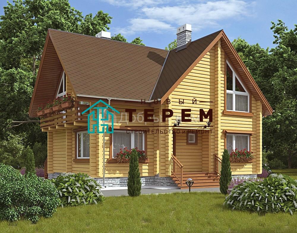 Проект дома 10.8 м х 9.6 м с двускатной крышей