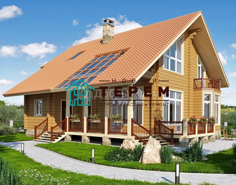 Проект дома 14 м х 12.5 м с двускатной крышей