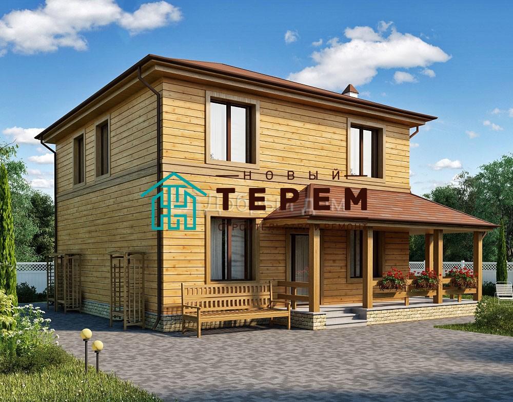 Проект дома 9.5 м х 8.8 м с четырехскатной крышей