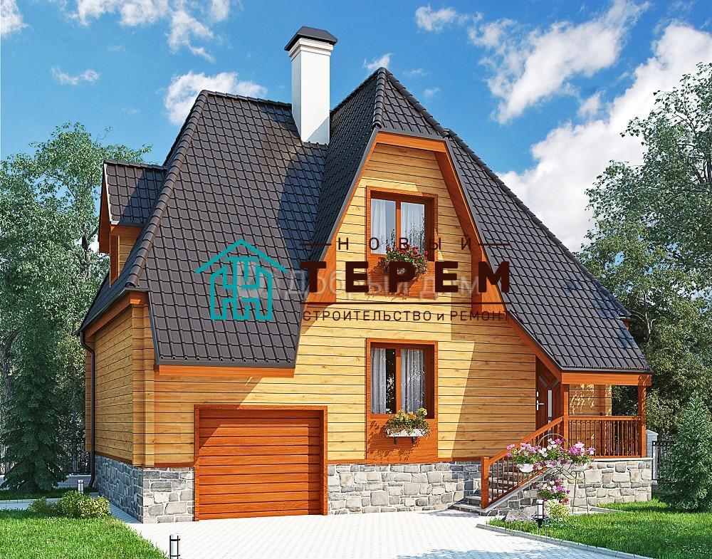 Проект дома 10 м х 7 м с мансардной крышей