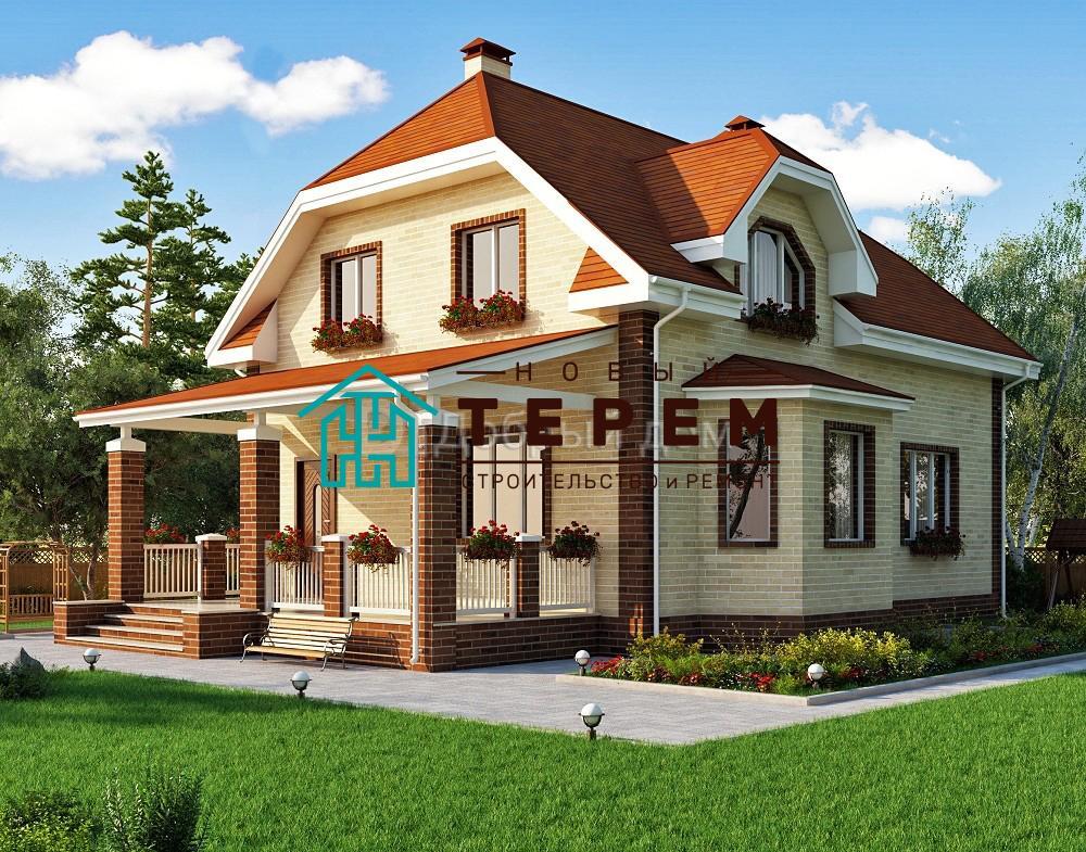 Проект дома 10.5 м х 9.9 м с мансардной крышей