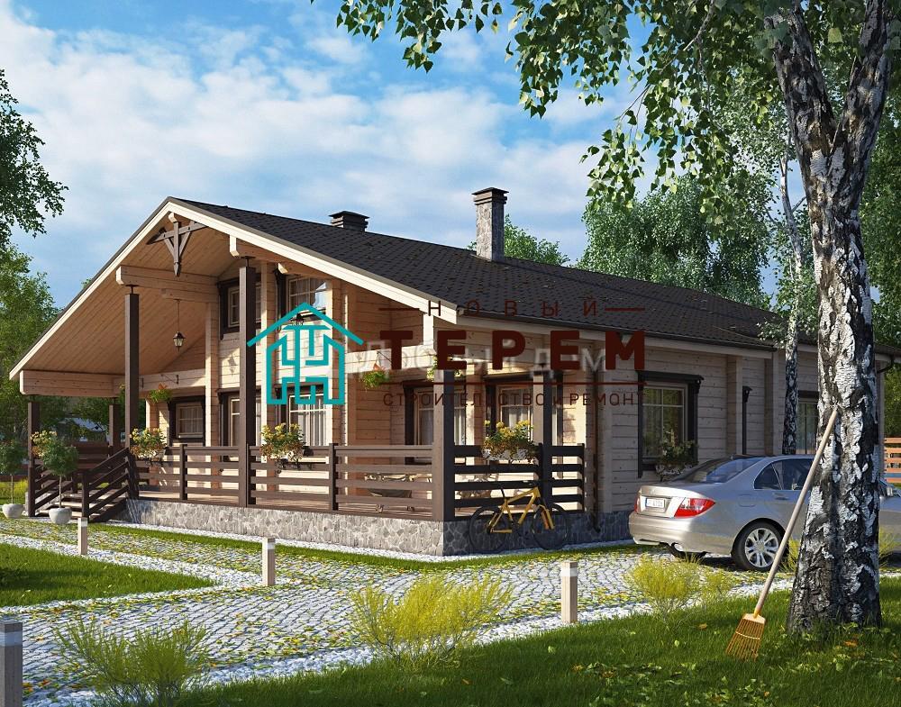 Проект дома 14.2 м х 13.6 м с двускатной крышей