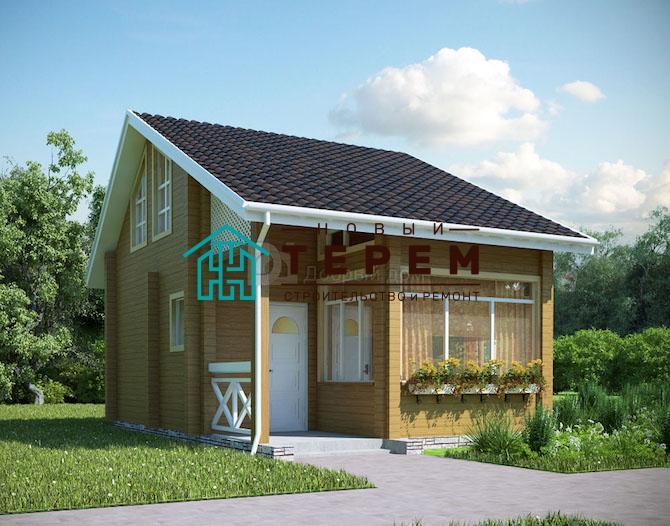 Проект дома 6 м х 6 м с двускатной крышей