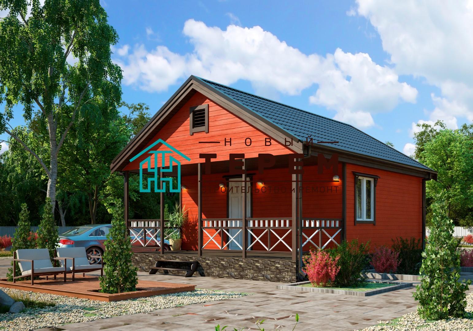 Ангара-1.3К (Дом каркасный 6×7м одноэтажный с террасой)