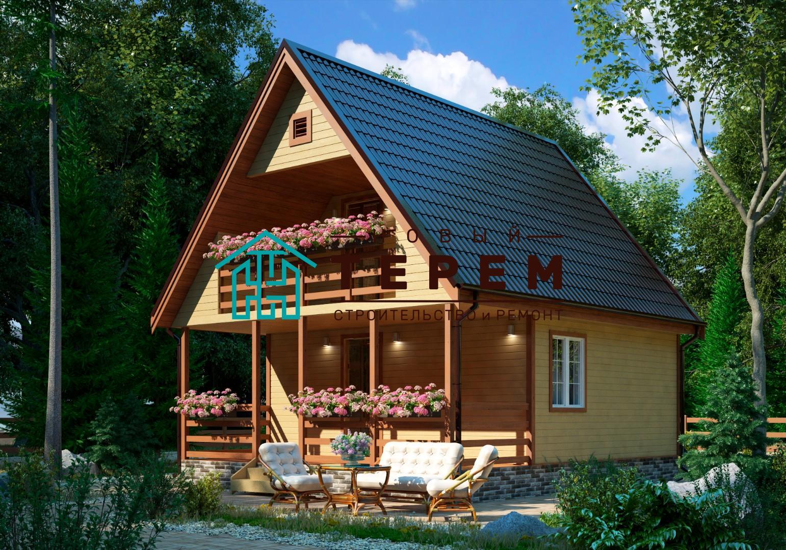 Ангара-К с террасой (Дом каркасный 6×7м с террасой и лоджией)