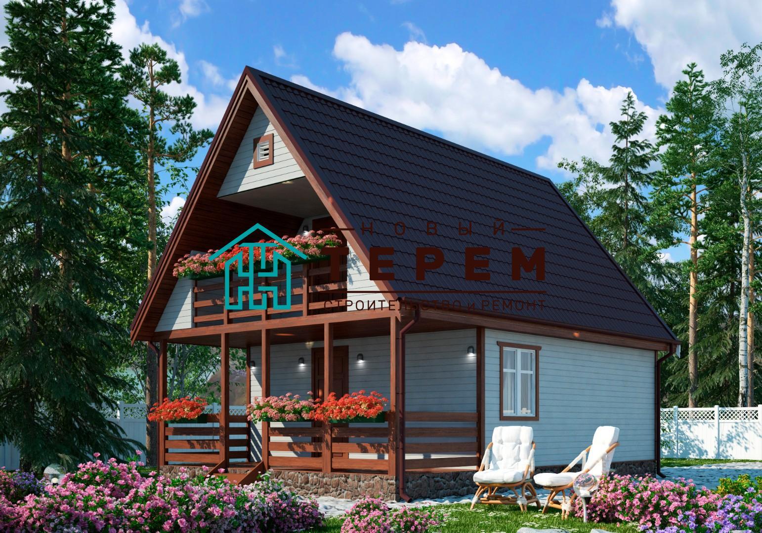 Кама-К с террасой (Дом каркасный 6×8м с террасой и лоджией)