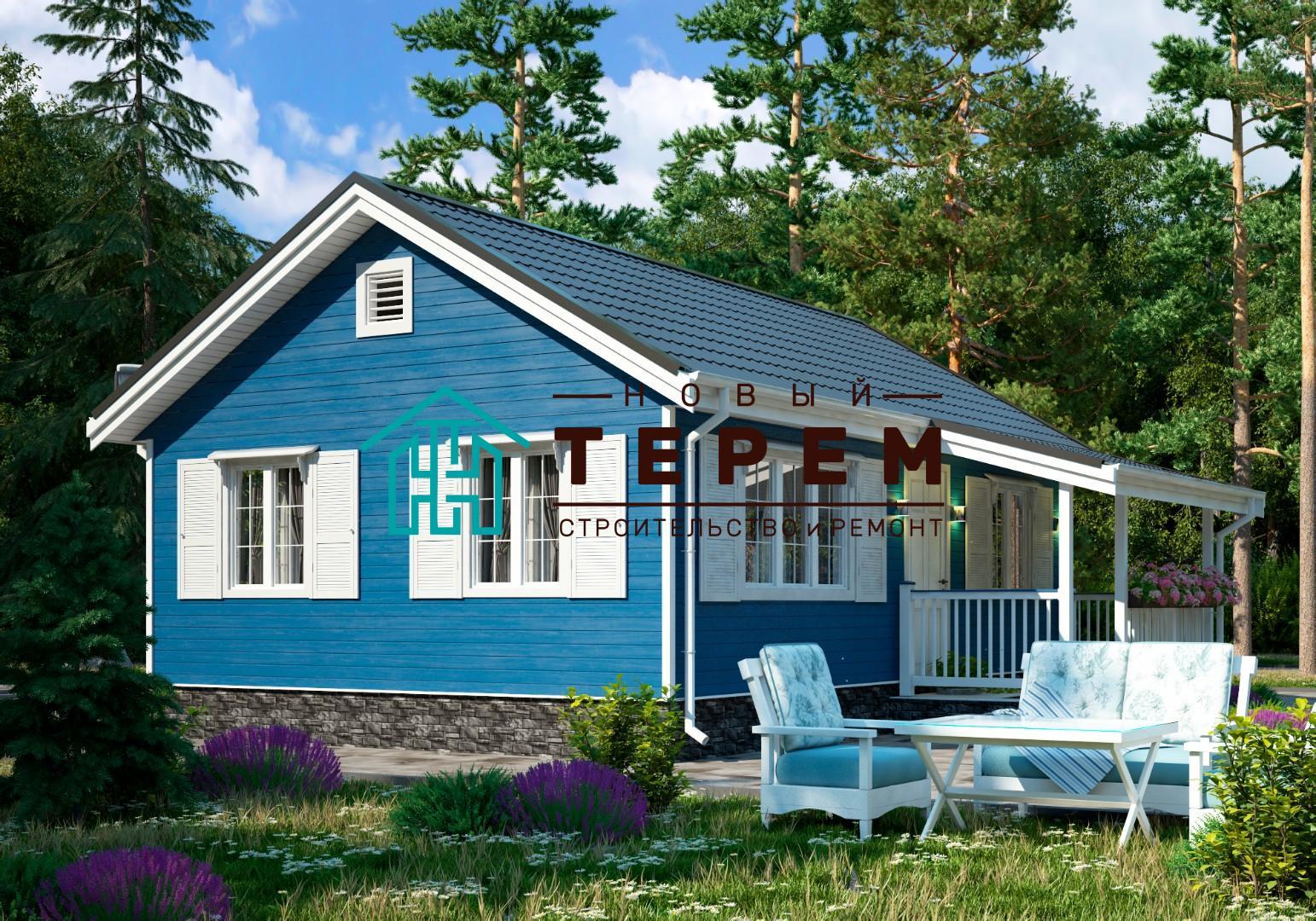 Кама-1К (Дом каркасный 6×8м одноэтажный)